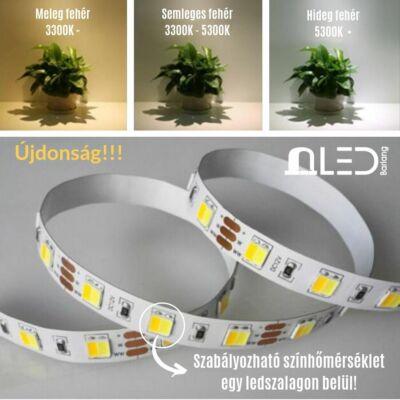 LED szalag , 5050 , 60 led/m , 14,4 Watt/m , 12V , állítható fehér színárnyalat , CCT