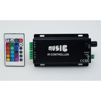 Távirányító RGB LED szalaghoz 216W, 12V/18A, 24 gombos távírányitóval, audio