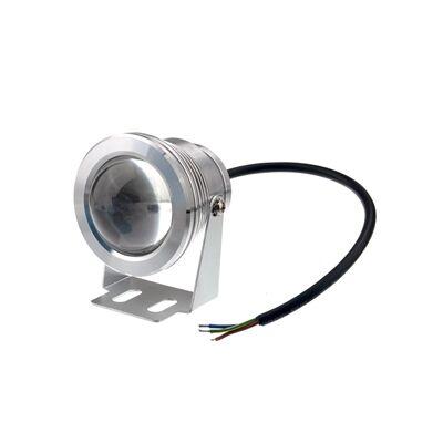 LED reflektor 10W, kültéri, hideg fehér fény - IP65 - krómozott borítás