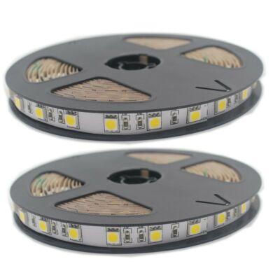 LED szalag, 24V, 5050, 60 SMD/m, nem vízálló, meleg fehér