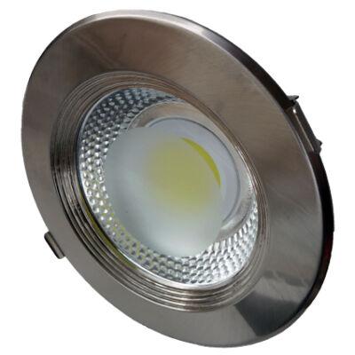 LED spotlámpa, 20W, COB, inox, kerek, fehér fény -