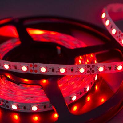 LED szalag, 5050, 60 SMD/m, nem vízálló, piros