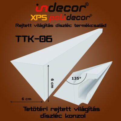Rejtett világítás díszléc 135 fokos tetőtéri csatlakozás kialakításához