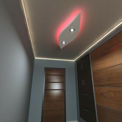 140 cm hullám álmennyezet sziget színváltós LED szalaggal | H-140x40-RGB