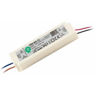 Tápegység LED szalagokhoz 60W, 12V, 5A, IP67