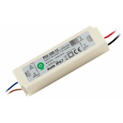 Tápegység LED szalagokhoz 100W, 12V, 8.3A, IP67