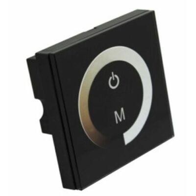 Fali LED vezérlő-dimmer, érintős, egyszínű Led szalaghoz fekete