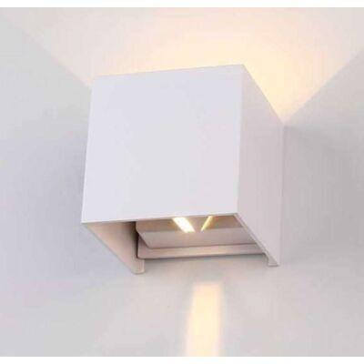 Kültéri oldalfali lámpa, szögletes , 2 irányú , 6W , természetes fehér , állítható sugárzási szög , fehér , IP44