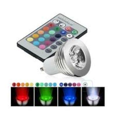 LED spot 45°,GU10, 3W, 230V, RGB Színváltós, távirányítós