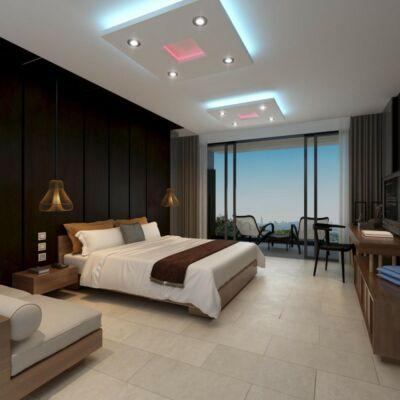 100cm-es négyzet álmennyezet sziget színváltós LED szalaggal | N-100-RGB