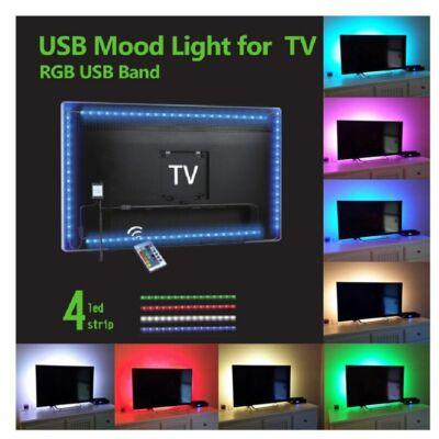 TV HÁTTÉRVILÁGÍTÁS RGB SZETT USB CSATLAKOZÁSSAL, TÁVIRÁNYÍTÓVAL