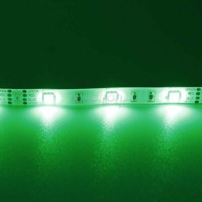 LED szalag, 5050, 30 SMD/m, nem vízálló, zöld fény